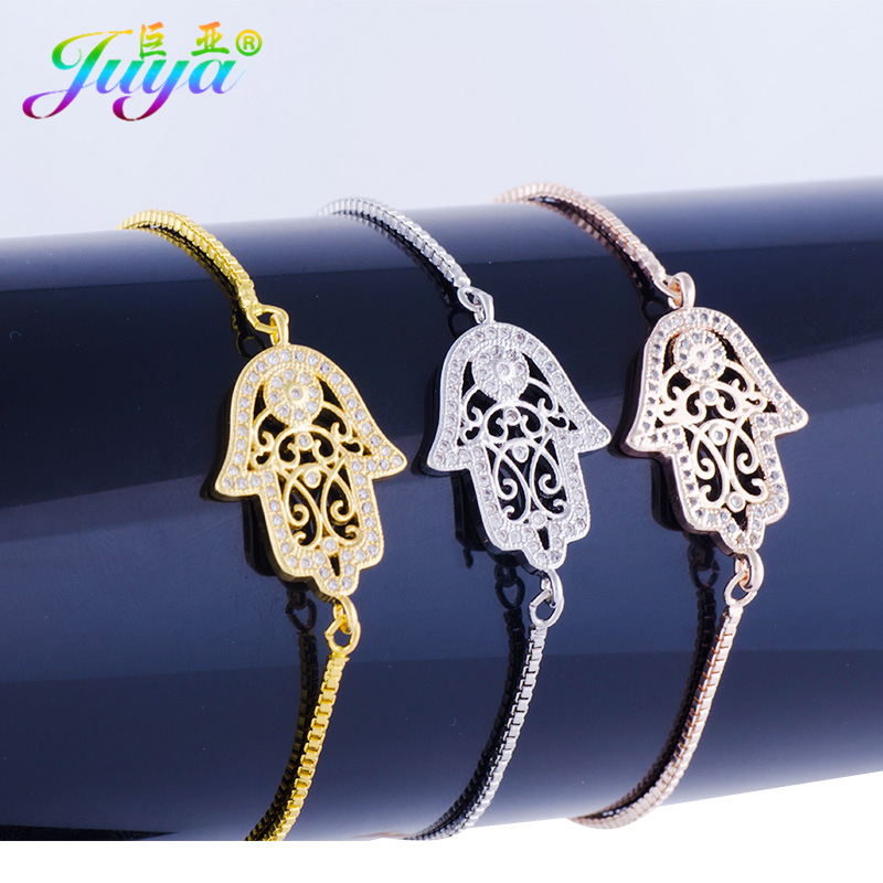 Wholesale Gold Bracelets Men Jewelry Supplies Hollow Flower Hamsa Hand Of Fatima Charm Bracelets Gold Chains Bracelet For Women