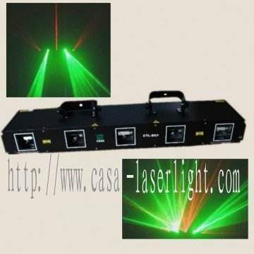 HOT SALE New stage light 50+50mW,532nm; Red: 80+80+80mW,650nm Double green and three red--Five head DPSS laser dj equipment