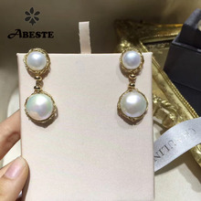 ANI 14k Roll Yellow Gold Women Pearl Dangle Earring Natural Baroque Shape White Engagement Drop Earrings aretes de mujer