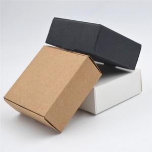 Image 2 - 2000 Tamanho pçs/lote 9*8.6*1.6cm Branco caixas de papel para embalagens, preto kraft caixa de papel cartão, papel de caixa de presente caixas de papel Marrom kraft