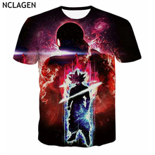 NCLAGEN Men's Casual 3D Clothing Short Sleeve Dragon Ball Super Ultra Instinct Son Goku The Grey Haiiro No Jiren Printed T-Shirt