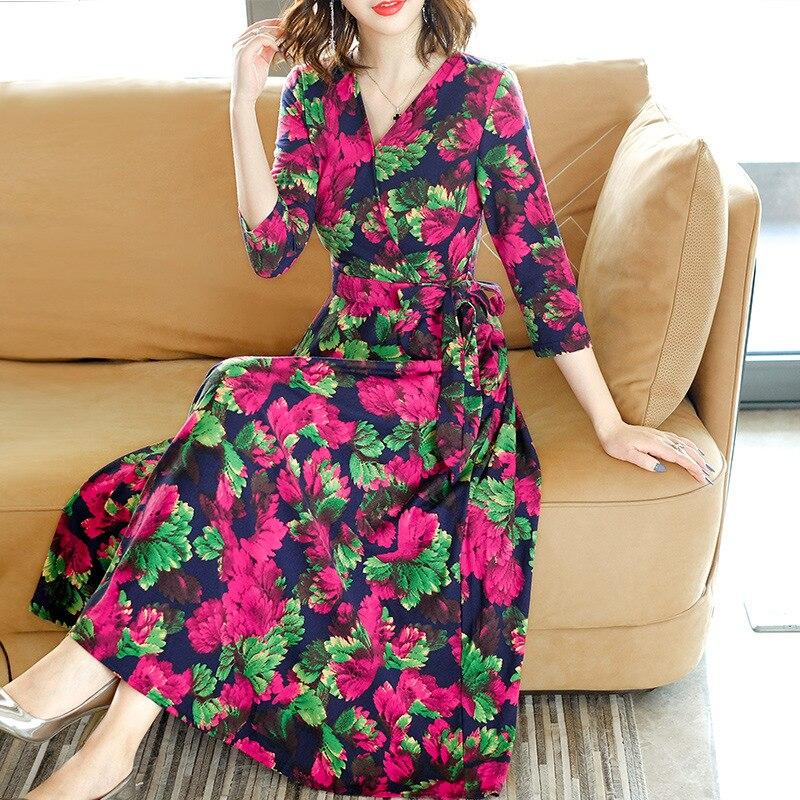 Fleur Balançoire V Automne Femmes Mode 2018 De Pull cou Tricoter Long Tricoté À Motif Lumineuse Hiver Grande Robe Occasionnel RaB8xBPw