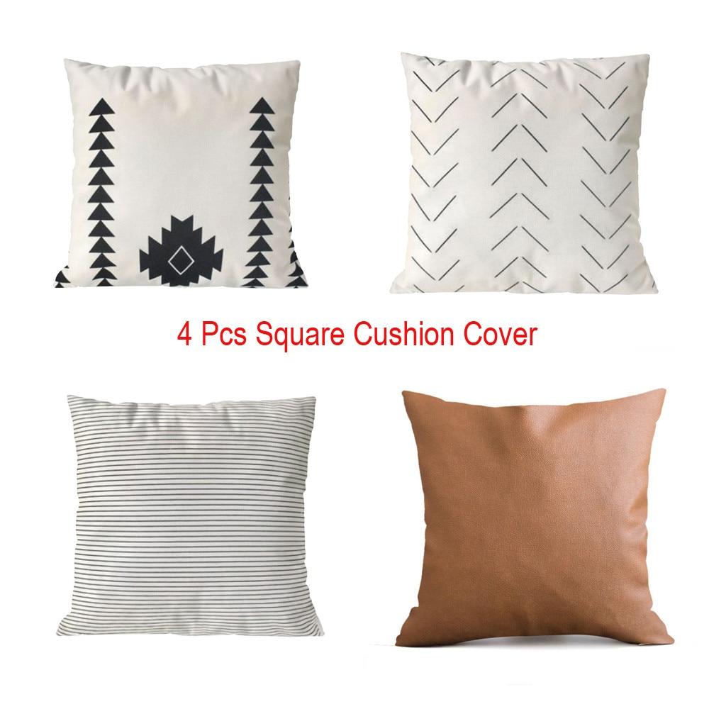 vidaXL Cushion Covers 4 pcs Linen-look White 80x80 cm