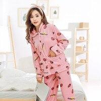 Yeni Kadın Sıcaklık Kış Kaşmir Flanel Gecelik Hırka Eğlence Giyim Mercan Polar Gevşek Termal Rahat Pijama Setleri