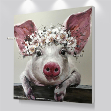 Nordic style oil paintings handmade Cute Pig Animal Oil Painting Wall Art Canvas Poster Baby Room home Decoration Pictures
