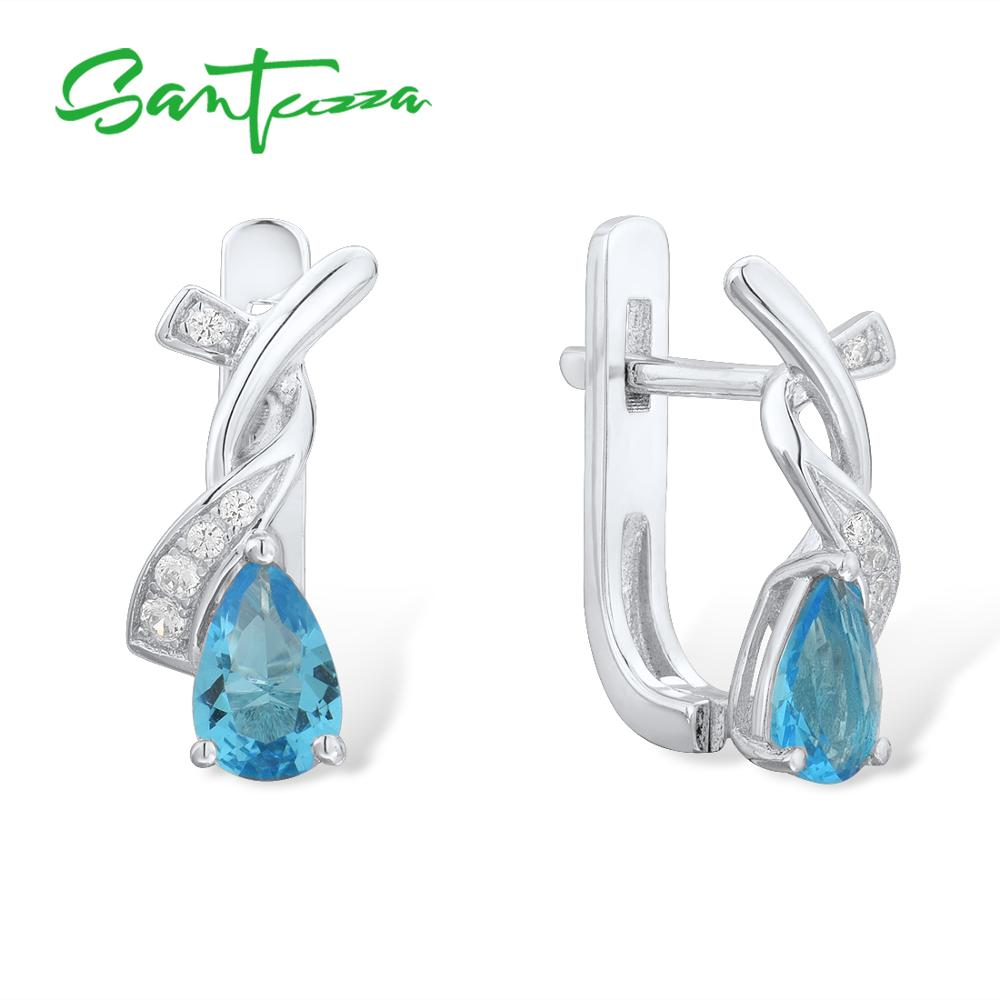 SANTUZZA Silver Earrings For Women Genuine 925 Sterling Silver Pear Magic Blue Crystal Cubic Zirconia Elegant Fine JewelrySANTUZZA Silver Earrings For Women Genuine 925 Sterling Silver Pear Magic Blue Crystal Cubic Zirconia Elegant Fine Jewelry