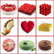 قالب تزيين الكيك ثلاثية الأبعاد سيليكون أدوات قوالب الخبز للقلب الكعك المستديرة الشوكولاته براوني موس جعل الحلوى عموم