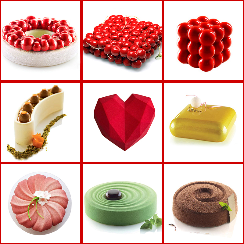 Cake Decorating Mold 3D Silicone Molds Baking Tools For Heart Round Cakes Chocolate Brownie Mousse Make Dessert Pan