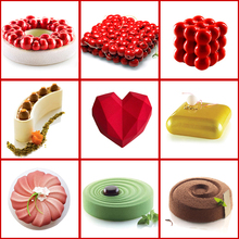 Moldes de silicone 3d para decoração de bolos, ferramentas de cozimento para bolos redondos com coração