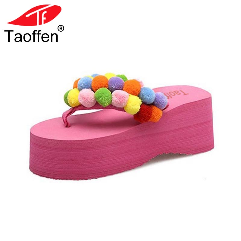 TAOFFEN Summer Flip Flops Shoes Women Sweety Pompon Soft Slippers Women Thick Platform Wedges Trifle Footwear Size 35-39