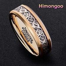 Himongoo 6 мм Золотое мужское кольцо из карбида вольфрама обручальное