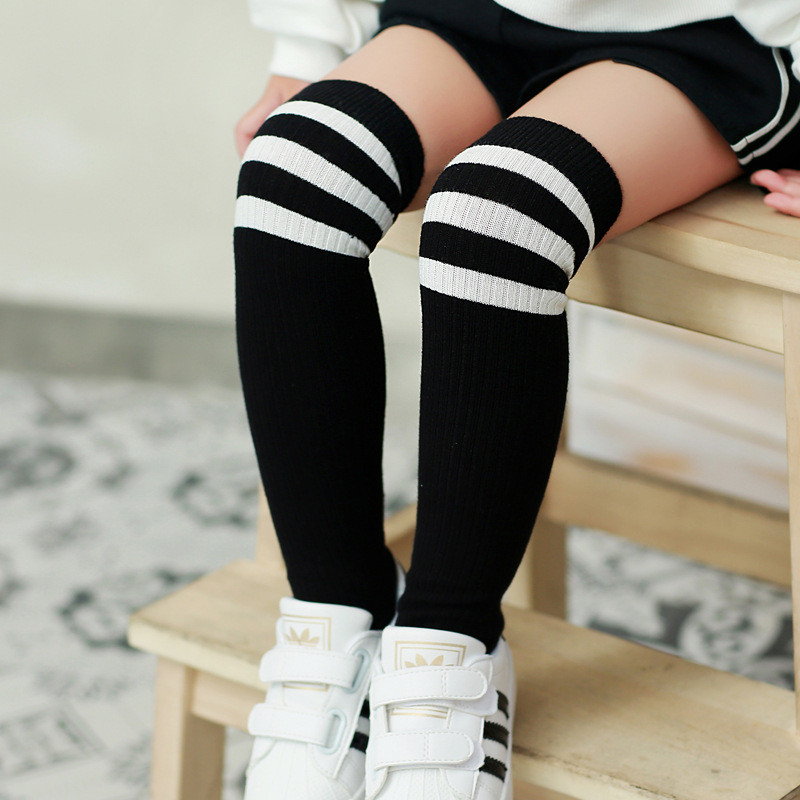 Boys Girls Classic Striped Cotton Knee High Socks Children School Sports Football Soccer Long Leg Sock Winter Autumn Leg Warm striped wide leg shorts