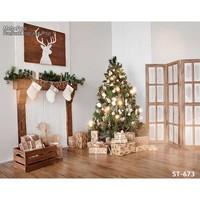 Natale sfondo vinile fondali fotografia di Computer Stampato camino albero di natale e contenitore di Regalo per Photo studio ST-673