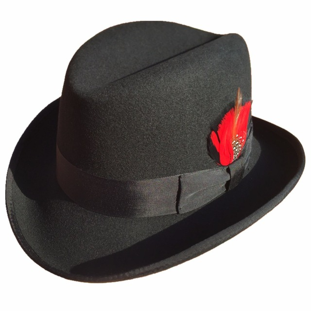 ab05fcf864fa26 Classic Wool Felt Homburg Godfather Fedora Bowler Hat For Men Women Black  Blue Brown Red