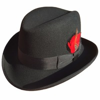Classic Wool Felt Homburg Godfather Fedora Bowler Hat For Men Women Black Blue Brown Red