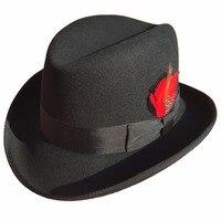 Classic Wool Felt Homburg Godfather Fedora Bowler Hat For Men Women Black Blue Brown Red