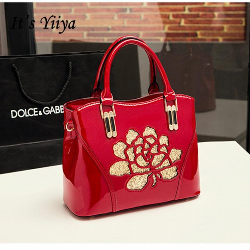 It's YiiYa Women Patent Leather HandBag Casual European Style Flap Floral Vintage Fashion Designer Luxury Girls Bags XK8024