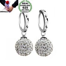 OMHXZJ Wholesale Personality Fashion OL Woman Girl Party Wedding White  Balls 925 Sterling Silver Earrings YE270
