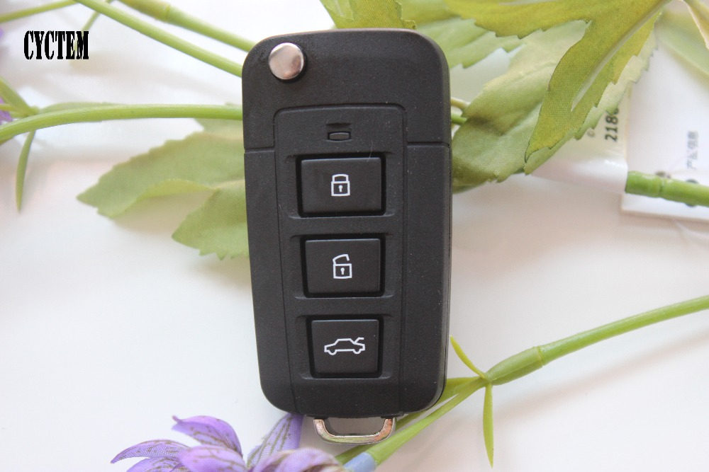 CYCTEM 3 Buttons Car Modified Flip Folding Remote Key Shell Fob Case Replacement Fit For font