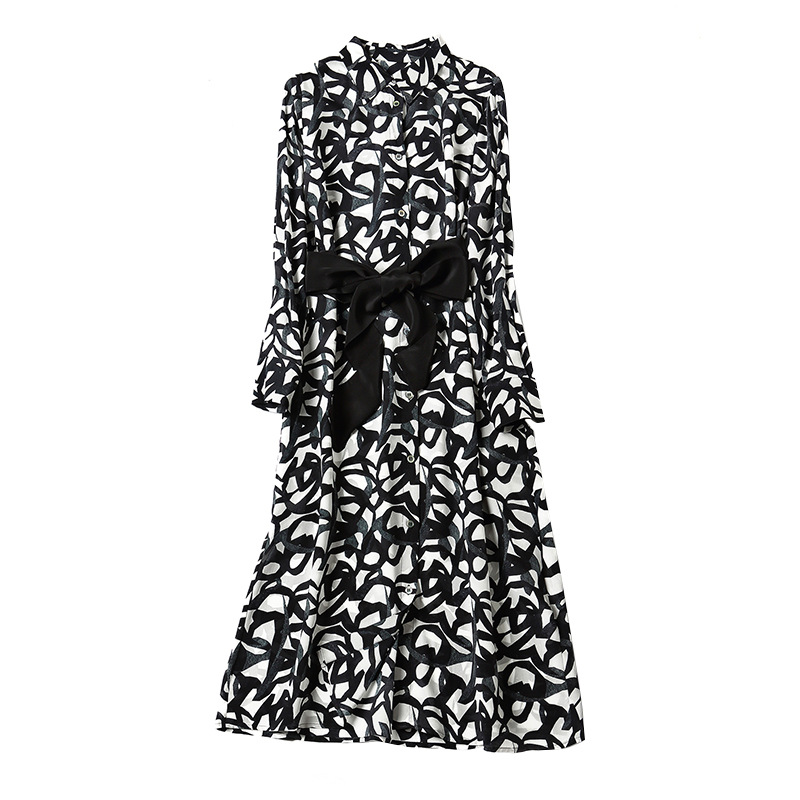 De Montant Manches Nouveau Luxe Imprimé Haut Soie Gamme Mi Robe P7962 Longues Femmes Col 2019 Réel 100 Black À Élégante Printemps qtPxTwOF