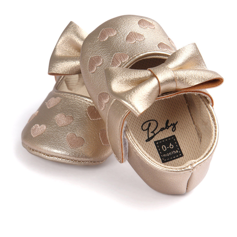 Baby Girl Bowknot Leater Princess Shoes Sneaker Anti-slip Soft Sole Kids Shoes