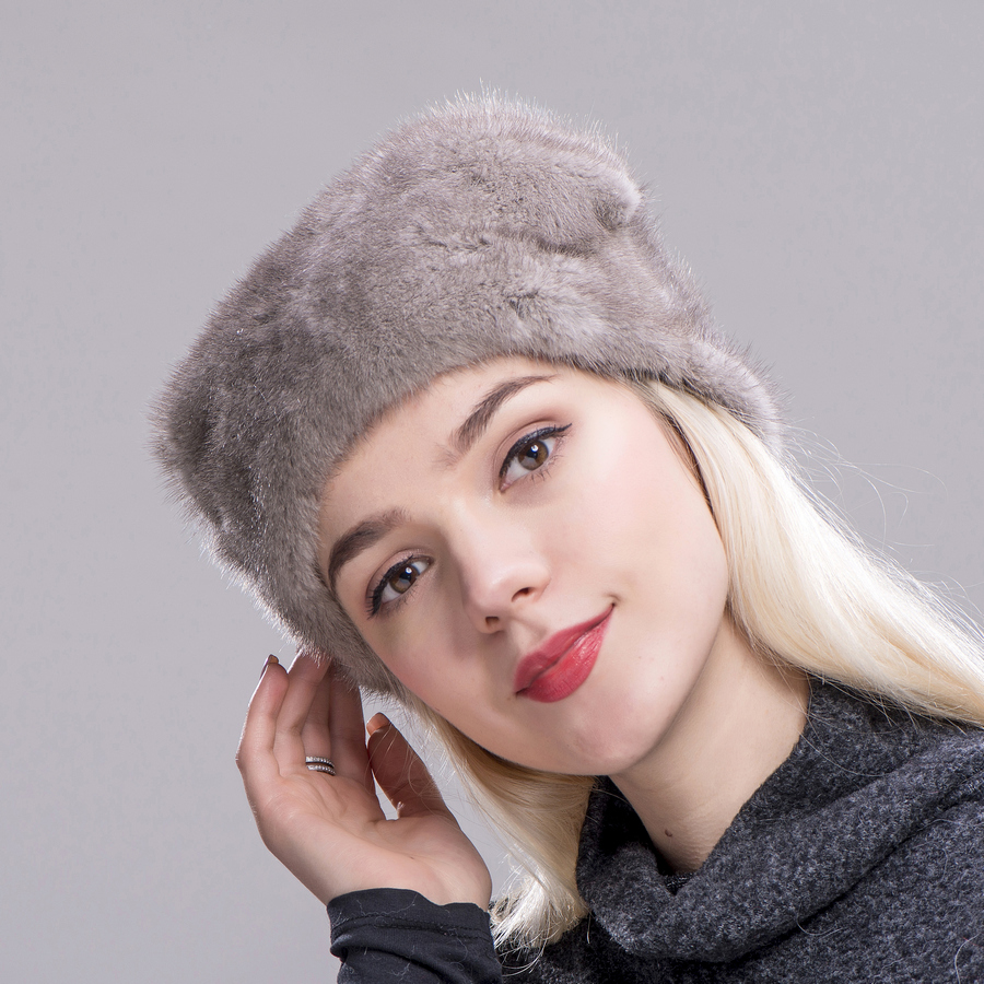 FXFURS Christmas hat mink fur whole skin high quality fur caps with one mink ball hats women winter warm protection ear - 2