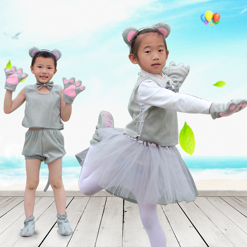 Children Kids Baby Boy Girl Cartoon Animal grey Mouse Costume Performance Clothes skirt Children's Day Halloween headband shoes