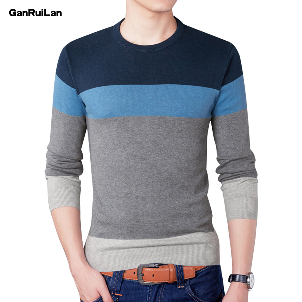 Sweater Men 2019 New Arrival Casual Pullover Men Autumn Round Neck Patchwork Quality Knitted Brand Male Sweaters Plus Size B0303