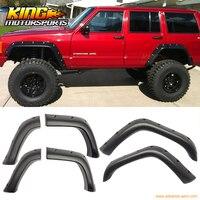 Для 84 01 Jeep Cherokee XJ Карманный заклепки Стиль Fender Flares 6 шт. крышка колеса Blk ABS США Отечественная Бесплатная доставка горячая распродажа