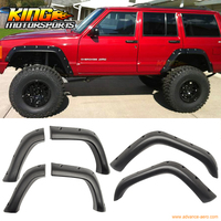 For 84 01 Jeep Cherokee XJ POCKET RIVET Style Fender Flares 6Pcs Wheel Cover Blk ABS USA Domestic Free Shipping Hot Selling