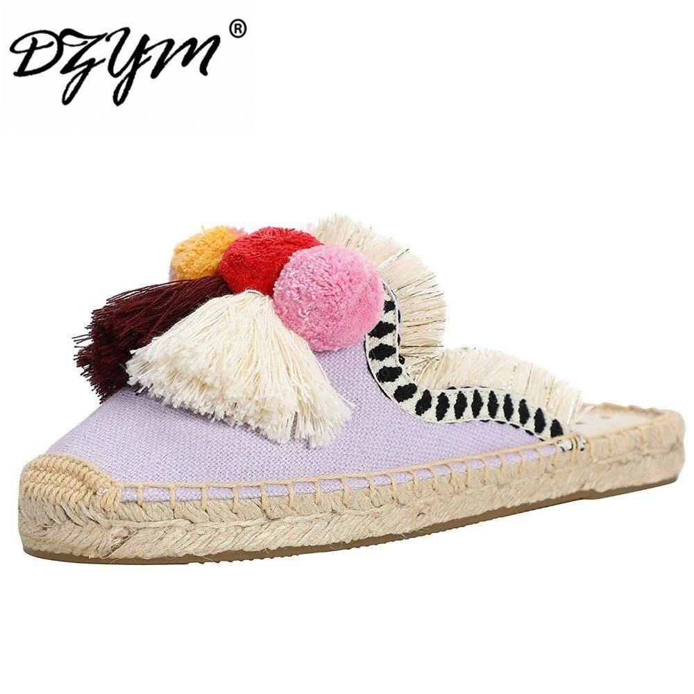 DZYM 2019 Spring Summer New Hemp Flax Fisherman Shoes Women Slippers Tassel Fluffy Ball Canvas Mule