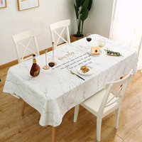 Creative Marble Pattern Thick Cotton Linen Art Waterproof Tablecloth Oil proof Easy To Clean Table Cloth Table Placemat Cover