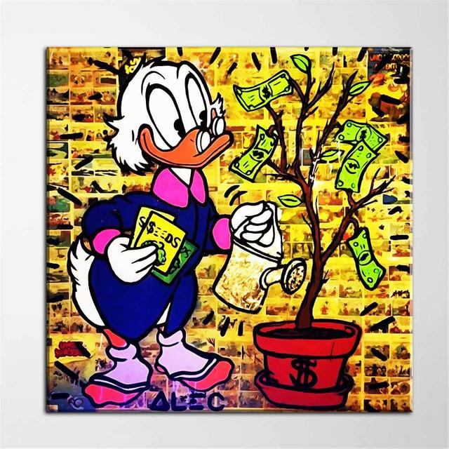 1 Piece HD Printed Cartoon Figure Watering Money Tree Graffiti Wall ...