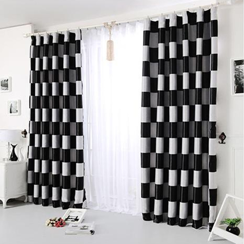 2017new European Simple Gray Black Coffee Plaid Blackout Windows Curtains For Living Room