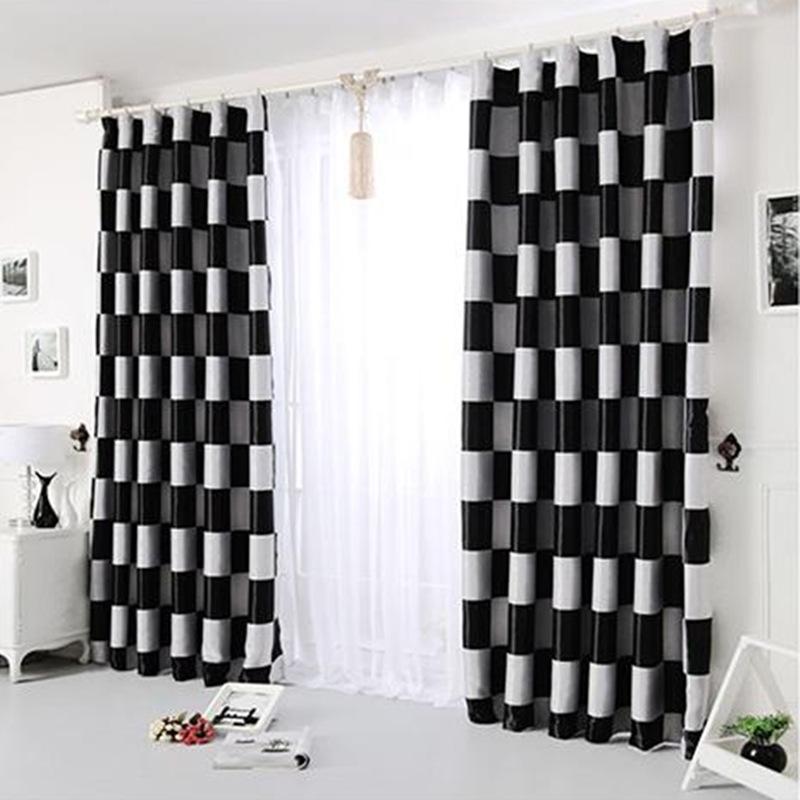 new europeo simple gris a cuadros caf negro ventanas apagn cortinas cortinas cortinas para la sala
