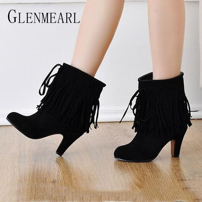 2018 Fall Winter New Ankle Women Boots Fashion High-heeled Platform Round Warm Black Brown Shoes Women's Boot Large Yards Size35 winter boots women black breathable comfortable round toe warm velvet high heeled shoes knee high red boot 44 43 plus large size