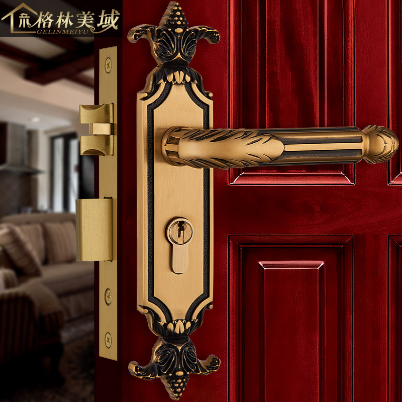 Full copper European style door lock bedroom door lock interior door lock copper door lock American room door lock ceramic lock the door when indoor european ball lock hold hand lock copper core ss