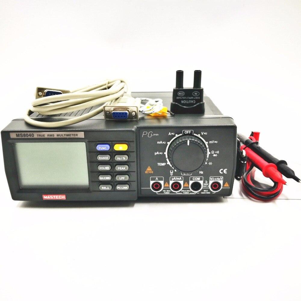 MASTECH MS8040 22000 cuentas corriente de voltaje CA CC rango automático multímetro de Banco verdadero RMS filtrado de paso bajo con interfaz de RS 232 - 5