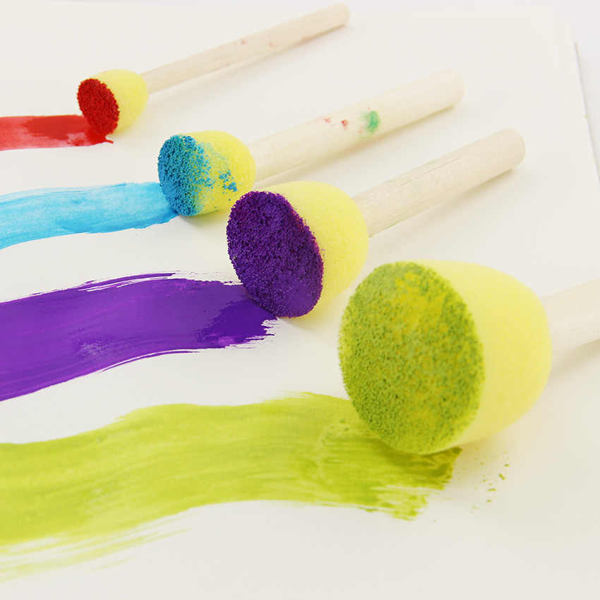 4 unids/set brocha de esponja para pintura juguetes sello con mango de madera cepillos de esponja niños dibujo y pintura de grafiti herramientas escolares