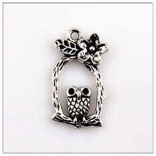 15Pcs Charm Vintage Tibetan Silver Tree Owl Pendant Jewelry Made 31x17mm