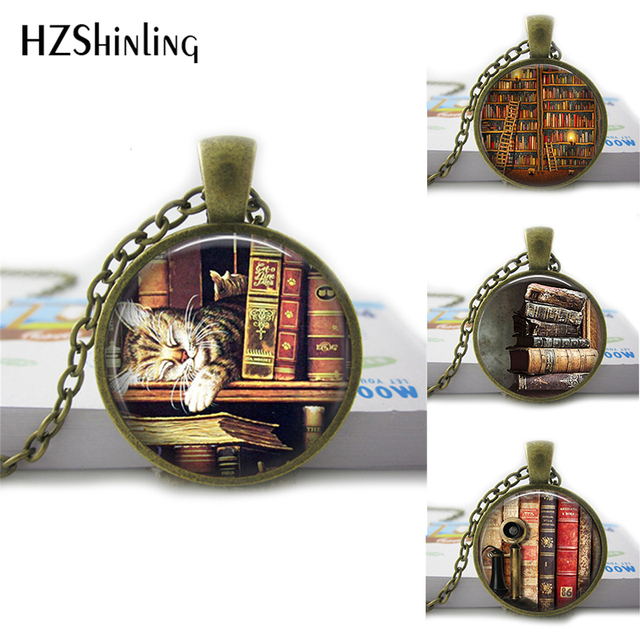 HZShinling She Is Too Fond Of Books Alcott Quote Pendant Necklace Cat Book Lover Jewelry Librarian Gift Writer Book Nerd HZ1