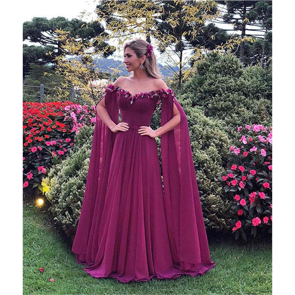Graceful 2019 Long Sleeve Arabic   Evening     Dress   Boat Neck Off The Shoulder Chiffon A Line Long Formal Prom Gowns Robe De Soiree