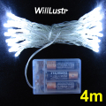 willlustr LED string christmas lights fairy lamp 4m lighting 4 meters fairy light party holiday light white 3*AA battery powered