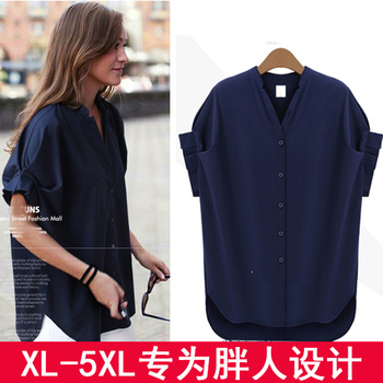 Talla grande mujeres fat MM más cuello en V 200 libras grasa hermana chifón camisa de manga corta Camisa femenina 1212