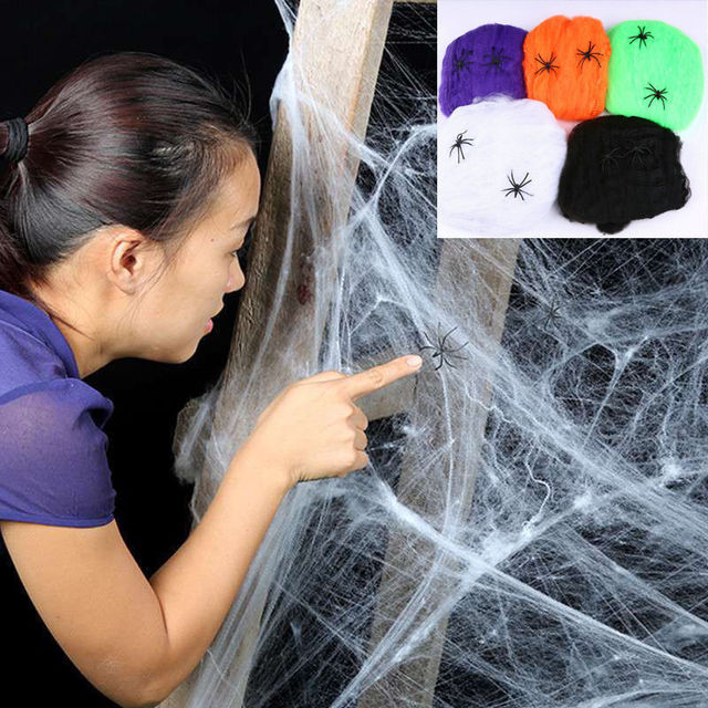 Halloween Scary Party Scene Props White Stretchy Cobweb Spider Web Horror Halloween Decoration For Bar Haunted House