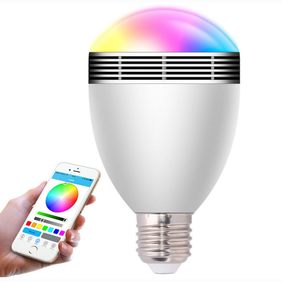6W LED Bulbs Wireless Bluetooth Speaker Audio Speaker,E27/B22 RGB Bluetooth 4.0 Music Playing & Lighting Smartphone APP Control mayer