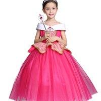 Fantasia de Halloween Crianças Traje Role-Play Partido Vestido Bela Adormecida Princesa Aurora Vestido Para A Menina Das Crianças Dos Miúdos Roupas