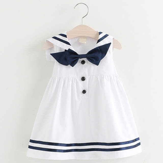 Melario Girls Dress 2020 Summer New Sailor Suit Button Decoration