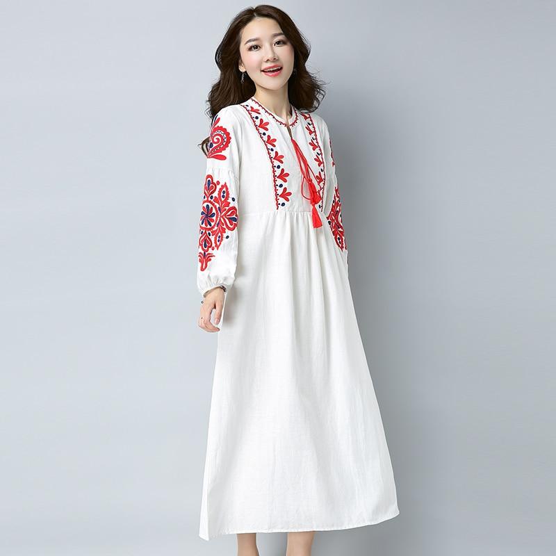 Vintage Frauen Kleider Boho Embrodery Maxi Kleid Weiß Edle Kleider ...