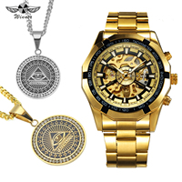 WINNER Punk Golden Watch Men Skeleton Auto Mechanical Mens Watches Top Brand Luxury HIP HOP Jewelry Set + EYE Iced Out Necklace